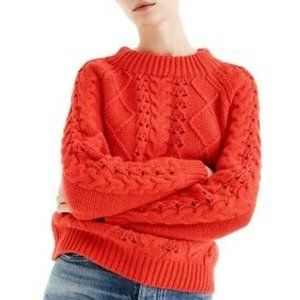 J. CREW Cable Knit Mock Neck Sweater in Red